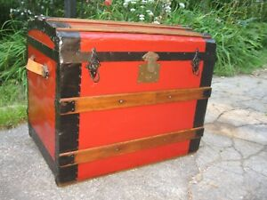 Sm 24 Antique Slat Top Steamer Trunk Stage Coach Chest Restored Interior Tray
