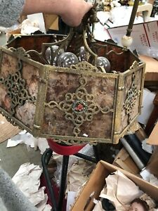 Arts Crafts Decorated 8 Panel Laced Mica Shade Brass And Other Metal Hanging