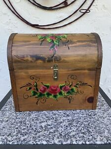 Wood Chest Crate Lid Storage Container Box Decor Case Treasure Dome Sewing