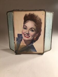 Very Unique Vintage Antique Trifold Makeup Vanity Mirror With Metal Frame