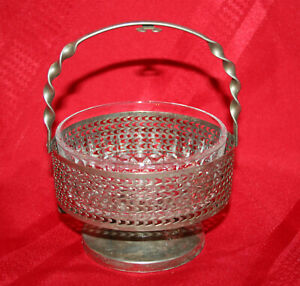 Vintage Silver Handle Compote Candy Nut Dip Dish With Glass Bowl Easter Dinner