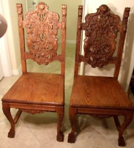 Rare Antique Pair Of Woman Bust Royal High Back Lion Throne Chairs Hand Carved