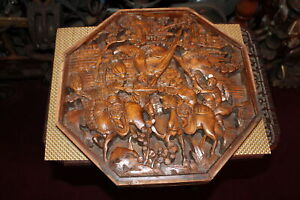 Chinese Wood Carved Relief Panel Warriors Soldier Battle Horses Detailed