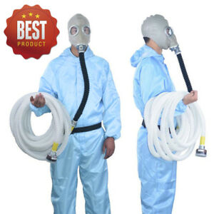 10m Tube Constant Flow Supplied Air Fed Full Face Gas Mask Respirator System