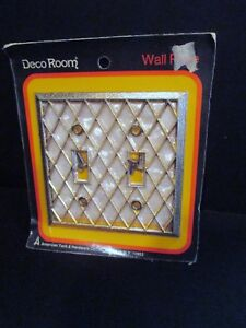 Vtg Double Switch Cover Lattice White Deco Room American Tack Hardware 131ttw