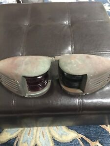 Vintage Chris Craft 1940 S Nautical Navigation Lights W Kopp 4072 Lens S