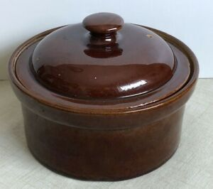 Vintage 8 Brown Stoneware Covered Dish Crock Casserole Ceramic W Vented Lid