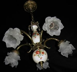 Vtg Deco French Cast Brass Glass Shade Crystals Chandelier Ceiling Fixture 50 S