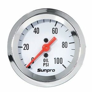 Sunpro Analog Styleline Mechanical Oil Pressure Gauge White Face Mechanical