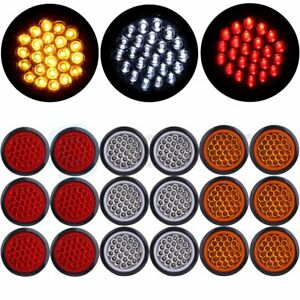 18xred Amber White 4 Round 24led Trailer Truck Side Marker Clearance Tail Light