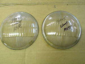 1934 1935 Chevrolet Script Tilt Ray Domed Headlight Lenses Matched Pair Original