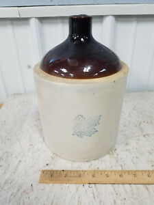 Nice Vintage Antique 2 Gallon Western Stoneware Co Brown Top Whisky Jug