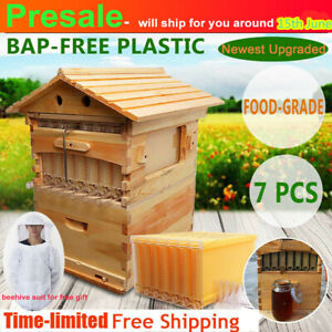 7 Pcs Free Flow Honey Hive Flow Frames Beekeeping upgraded Beehive Cedarwood Box
