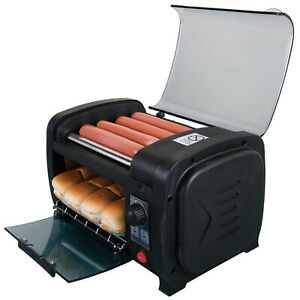 Hot Dog Roller And Toaster Oven Sausage Maker Cooker Machine With Bun Warmer Red