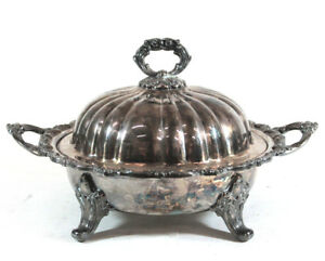 Apca Old English Silverplate By Poole Footed Round Covered Vegetable 5035