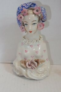 Cordey Victorian Lady W Pink Roses Porcelain Sculpture Figurine 5010