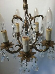 Vintage Very Petite Chandelier Brass Crystal 10 5 Wide 5 Lights 5 Arms Euc