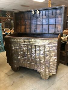 Antique Chest Buffets On Wheels Handcarved Brass Cladded Trunk India Old Pitara