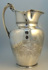 Gorham Coin Silver Water Pitcher Grape Motif Providence 1860