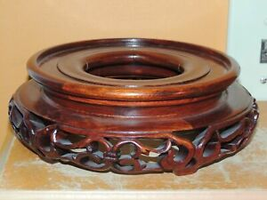 Vintage Wood Wooden 6 25 8 25 Base Carved Chinese Stand Lamp Vase Pot Hardwood
