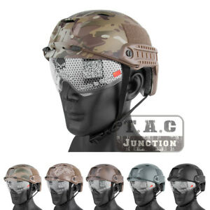 Emerson Airsoft Tactical FAST Helmet BJ Type Bump Base Jump Helmets w Goggles