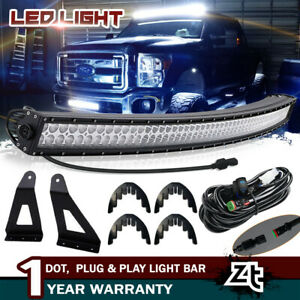 54 Curved Led Light Bar W Upper Roof Brackets 99 16 Ford F250 F350 Super Duty