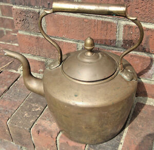 Antique 19th C Dovetailed Copper Brass Soldered Tea Kettle Elegant Finial Top
