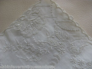 Victorian Wedding Bridal White Work Embroidery Tambour Lace Hanky 11 2