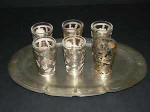 Vintage Amp Glass Sterling Silver Overlay Shot Glass Set Of 6 W Tray Mexico