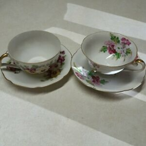 Lot Of 2 Vintage Tea Cup And Saucer Sets