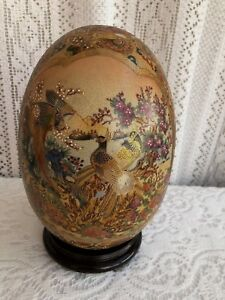9 Satsuma Gilded Enamel Porcelain Egg Peacocks With Stand 3