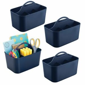 Mdesign Plastic Storage Caddy For Desktop Office Supplies Small 4 Pack Blue
