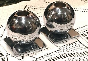 Vintage Art Deco Chase U S A Chrome Globe Candle Holders 2 Piece Set