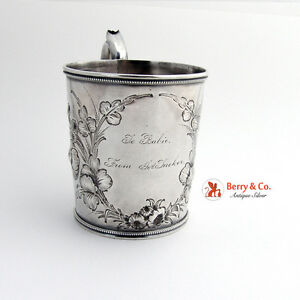 Chased Cup Mug Gorham Coin Silver 1860 To Babie From Jos Tucker
