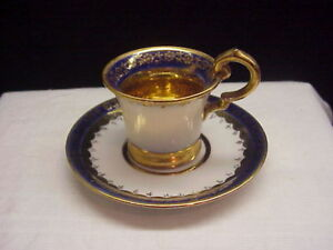 Vintage Cobalt And Gold Floral Border Demitasse Germany