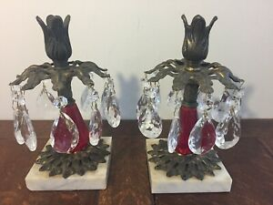 Pair Brass Candlesticks 20 Teardrop Cut Crystals Marble Base Ruby Red Center Vtg