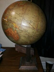 1912 1918 World Globe The Book Of Knowledge On Mission Oak Stand