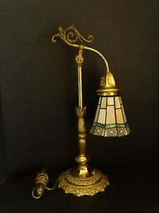 Vintage Brass Colored Ornate Metal Table Lamp W Leaded Shade