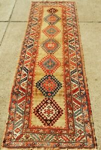 Antique Caucasian Camel Talish No W Oriental Rug Runner Size 3 5 X 10 10