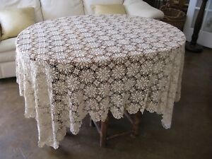 Vintage Ecru Floral Queen Anne Canopy Bedspread Throw Curtain Tablecloth 70x70