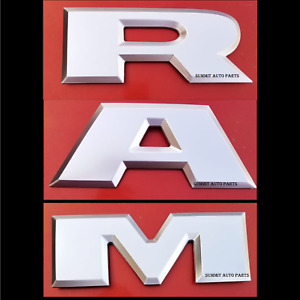 New Silver Ram 1500 Tailgate Ram Emblem Letters Fit For 2015 2018 Dodge Ram