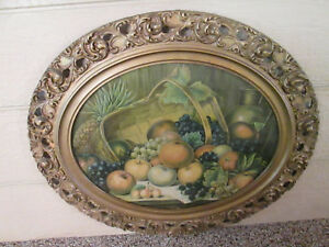 Art Fs Antique Victorian Oval Fruit Print In Wood And Gesso Frame