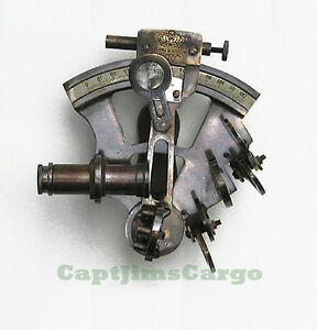 Brass English Navy Sextant 5 W Wooden Case Antiqued Nautical Astrolabe Decor