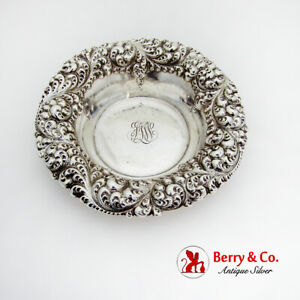 Repousse Floral Candy Bowl Serving Dish Gorham Sterling Silver 1897