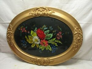 Tin Foil Folk Art Reverse Painted Floral Picture Tinsel Oval Frame Dome Glass
