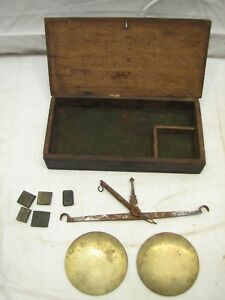 Antique Iron Brass Apothecary Pharmaceutical Scale Gold W Weights Wood Box A