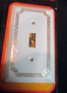 Vtg Sgl Switch Cover Plate Woodtex White Decoroom American Tack Hardware 150tw