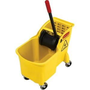 Rubbermaid Commercial Fg738000yel Tandem 31 quart Bucket And Wringer Combo