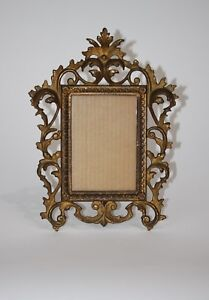 Antique Vintage Victorian Metal Brass Iron Picture Frame Easel Style Table Top