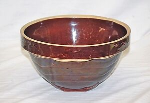 Old Vintage Stoneware Crock Pottery Brown Wavy Mixing Bowl Square Kitchen Tool